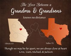 Grandma Gift, Long Distance Grandma Gift, Personalized Gift for Grandmother, Long Distance Map, Custom Gift Mothers Day, Grandson Love by DarmellaGraphics on Etsy