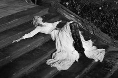 dark and soft. styling. dark tights and light dress. Garden of Angels.  Photographer: JULIA KIECKSEE.  Stylist: IRINA SKLADKOWSKI.