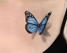 3D Blue Butterfly Temporary Tattoo - looks like if just landed on you