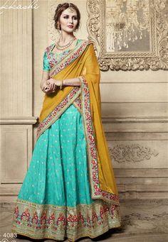 Fabulous Mustard And Turquoise Silk Lehenga Sari Lehenga Style Saree, Lehenga Choli Online, Indian Lehenga, Silk Lehenga, Pakistani, Sarees, Indian Bollywood, Indian Dresses, Indian Outfits