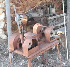 An old opal cutting machine at the bottle house lightning ridge Lightning Ridge, Lightning Strikes, South Australia, Western Australia, Bottle House, Concrete Mixers, Cannon, Jewelry Stores, Opal