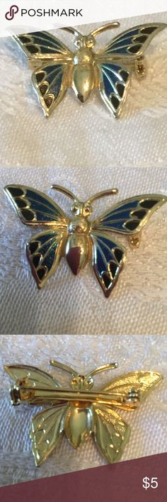 "Enamel butterfly pin /Brooch gold/blue black. 1.5"" Enamel butterfly pin/Brooch.  Colors blue, black, gold. 1 1/2""X1"" unmarked Jewelry Brooches"