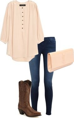 Fall Outfit - Cowboy Boots, skinny jeans, blouse
