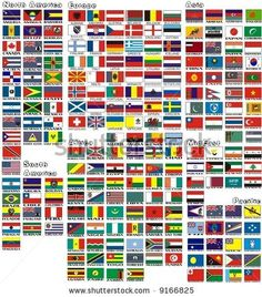 the national flags of all countries of the world separated by continents and reduced by alphabetical order by malko, via ShutterStock