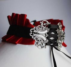Red Vampire Satin Neck Corset  •  Make a ribbon choker in under 60 minutes
