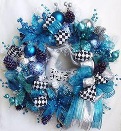 christmas wreath christmas reindeer wreath whitebluesilver christmas wreath holiday - Blue Christmas Wreath