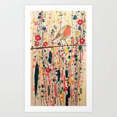 I adore this little robin. je ne suis pas qu'un oiseau Art Print by Sylvie Demers - $16.00