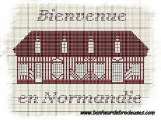 Maison - house - normandie - point de croix - cross stitch - Blog : http://broderiemimie44.canalblog.com/