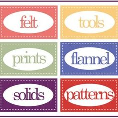 Printable Sewing Room labels. Great labels for the craft room too!