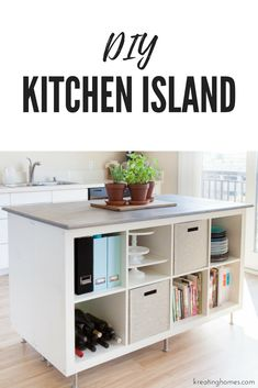 Check out this DIY Kitchen Island we created using old ikea bookshelves! The amount of storage and organization it will add to your kitchen makes this the ultimate ikea hack!