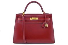 Hermes Rouge H Red 32cm Box Calf Kelly Sellier Bag
