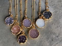 Natural Druzy Necklaces Druzy Jewelry Crystal Druzy by BijouLimon Women, Men and Kids Outfit Ideas on our website at http://7ootd.com #ootd #7ootd