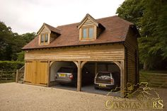 Oak dormers above the oak framed garage allow for extra space in the office upstairs - Oakmasters Barn Door Garage, Timber Frame Garage, Garage Room, Garage Office, Loft Office, Carport Designs, Garage Design, Garage With Room Above, Oak Framed Buildings