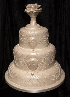 Victorian style wedding cake with royal icing piping detail