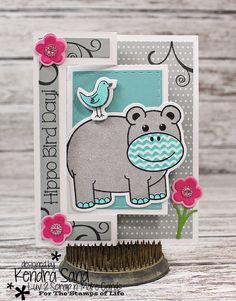 Luv 2 Scrap n' Make Cards, Kendra Sand, Flip-It Card, The Stamps of Life, Birthday Card, Hippo