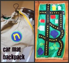 Car mat backpack via ICanTeachMyChild. I may need to learn to sew just for this very thing. Or pay someone else to sew it for me. Yeah, I'll just do that.