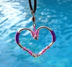 FISH HOOK HEART Necklace - Pink and Purple on Silver Hooks
