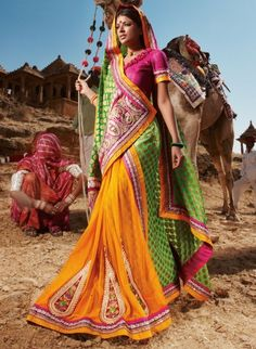 Orange And Green Color Saree - India Bollywood Индия इंडिया Bollywood, Yoga Studio Design, Bohostyle, Amazing India, Indian People, India Culture, India Colors, Colours, Rajasthan India