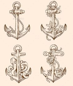 Set of Vintage Anchors by Artness Set of hand drawn vector vintage anchors. Zip file containsfully editable vector file and high resolution RGB Jpeg image. Dad Tattoos, Mini Tattoos, Future Tattoos, Body Art Tattoos, Small Tattoos, Sleeve Tattoos, Cool Tattoos, Tattoos Skull, Anchor Tattoo Design