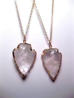 Crystal Quartz Arrowhead Necklace Quartz by FashionCrashJewelry