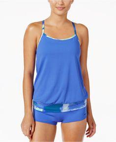 Nike Cascade Drape-Back Active Tankini Top   Swim Shorts Women - Swimwear -  Macy s fffa6c3c9a