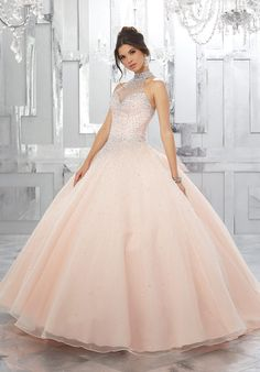 c2afe8109de Beaded Halter Quinceanera Dress by Mori Lee Valencia Style 60021 Quince  Dresses