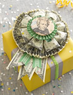 The project is the Money Rosette, with full photo instructions, just in time spring graduations or summer weddings.