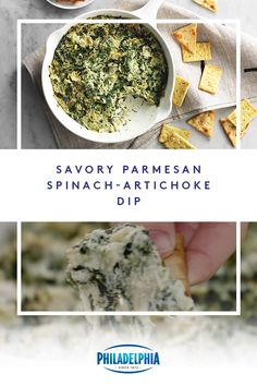 No party is complete without our Savory Parmesan Spinach-Artichoke Dip. Tasty, quick and easy to make, it's all you need to impress your guests. Pork Recipes, Vegetarian Recipes, Cooking Recipes, Dip Recipes, Cheesecake Recipes, Recipies, Spinach Artichoke Dip, Artichoke Hearts, Spinach Dip