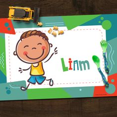 Cute Kids Personalized Placemat - Green features your choice of character on the front with their name! The back has Name, Alphabet & Numbers to practice! 4 Kids, Cute Kids, Children, Learning Fractions, Printing Practice, Alphabet And Numbers, Placemat, Baby Items, Baby Gifts