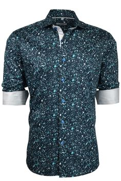 113bf8406b4a Galaxy print button down dress shirt made of 100% cotton. Roll up the  sleeves