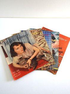 Magazines vintage 1948 lot de 5 Marie France no par BrocAndPop