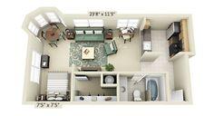 plantas de casas com 2 quartos com cozinha americana 3d 10