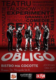 JOi, 30 ianuarie de la ora 20.30, Trupa de teatru OBLIGO din București îți propune o cură sănătoasă de râs printr-un show de improvizație. S... Joi, Shakespeare, Comic Books, Comics, Cover, Movie Posters, Film Poster, Cartoons, Cartoons