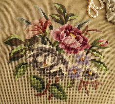"23"" Vintage PREWORKED Needlepoint Canvas Flowers~Simple Roses Fuchsia Gray Bunch"