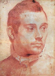 Annibale Carracci, Portrait of a man, a member of the Mascheroni family? sanguine on paper - Museu Nacional de Belas Artes , Rio de Janeiro Renaissance Kunst, Renaissance Portraits, Academic Drawing, Academic Art, Portrait Sketches, Portrait Art, Figure Drawing, Painting & Drawing, Annibale Carracci