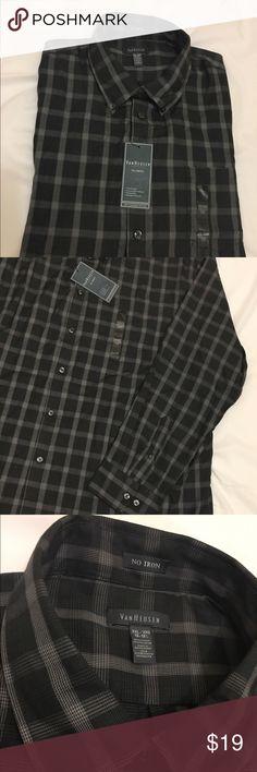 Men long sleeve button down dress shirt NEW with tags VanHeusen Shirts Dress Shirts