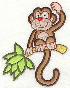 Monkey on Palm Tree Double Applique | Applique Machine Embroidery Design or Pattern