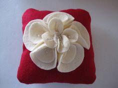 Ring Bearer Pillow Wedding Red Ivory magnolia flower choose your colors by ArtisanFeltStudio on Etsy, $49.00