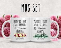 Promoted From Cat Grandma and Grandpa To Human Grandma & Grandpa Mug Set,New Grandparents Proposal Mugs,Pregnancy Mugs,Announcement Mug Set In Law Gifts, Gifts For Mom, Mother And Father, Mother Day Gifts, New Grandparents, Grandma And Grandpa, Grandparent Gifts, Friends Mom, Mugs Set
