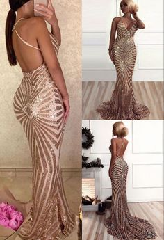 Sexy Deep V-Neck Champagne Long Prom Dress Sequin Mermaid Evening Dress Sequin Prom Dresses, Prom Dresses 2017, Mermaid Evening Dresses, Sequin Dress, Formal Dresses, Sexy, Check, Clothes, Color
