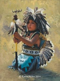 """Waiting To Dance"" Original Oil 12"" X 9"" -Western and Native American Fine Art by Karen Noles"