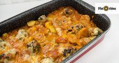 Mäsové guličky nemusíte dávať len do papriky. Pokiaľ chcete vyskúšať niečo nové, môžete ich zapiecť. Je to rýchle jedlo, ktoré upečiete v pekáči rovno aj s prílohou.  Potrebujeme (4 porcie): – 500 g mletého mäsa – 5 väčších zemiakov – tvrdý syr – mozarellu alebo nivu – lúpané paradajky –vajíčko – olivový olej – … Macaroni And Cheese, Chicken, Meat, Ethnic Recipes, Food, Mac And Cheese, Essen, Meals, Yemek