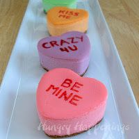 This is all kinds of cuteness wrapped into my favorite kind of yumminess!  Valentine's Day Conversation heart cheesecakes via hungry happenings