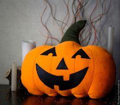 Купить Жутко веселая тыковка - рыжий, оранжевый, Хэллоуин, тыква, Декор, мягкие игрушки Halloween, pumpkin, pillow, decor, handmade