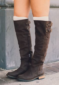 Dark Brown Round Toe Chunky Casual Over-The-Knee Boots