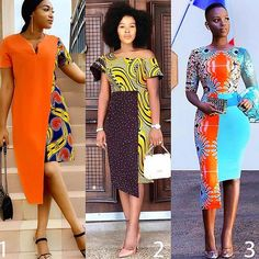 Asymmetrical dresses are so 😍😍😍. Pick your style: 1 2 or Chic 1 - 🔥❤. Chic 2 - in 🔥💛. Chic 3 - Bettinah Tianah in 🔥💙 via African Fashion Ankara, Latest African Fashion Dresses, African Print Fashion, African Wear, African Attire, African Women, Short Ankara Dresses, Ankara Dress Styles, African Print Dresses