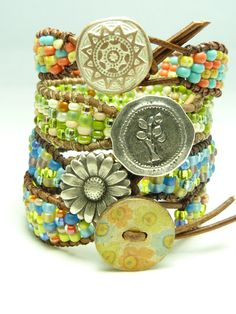 "Beaded leather wrap bracelet - ""Prairie bracelet"" - multicolor seed bead bracelet - Confetti Bracelet. $55.00, via Etsy."