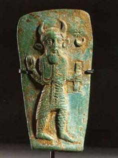 """Persian moon god bronze plaque 4thc BC. Horned Gods date as far back as the Ancient Sumerians and there were many! In ancient Europe horned gods were also quite common, aka """"Cernunnos"""" It was until the middle ages that the concept of Satan took on the image of the horned Demon. It was their way to squash the pagan belief systems by deeming their religious beliefs as evil."""
