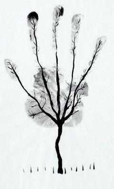 palm tree illustration - diy idea with kid's hands