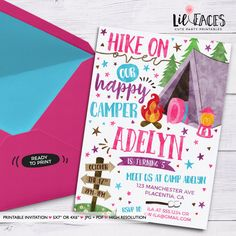 Camping Girl Birthday invitation Girls Camp out printable invite - Camping sign birthday decorations Tent Camping birthday party invitations Camping Birthday Invitations, Printable Birthday Invitations, Printable Invitations, Party Printables, Girl Birthday, Birthday Ideas, 9th Birthday, Bonfire Birthday, Birthday Parties